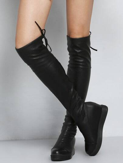 Black Thick-soled Knotted High Boots