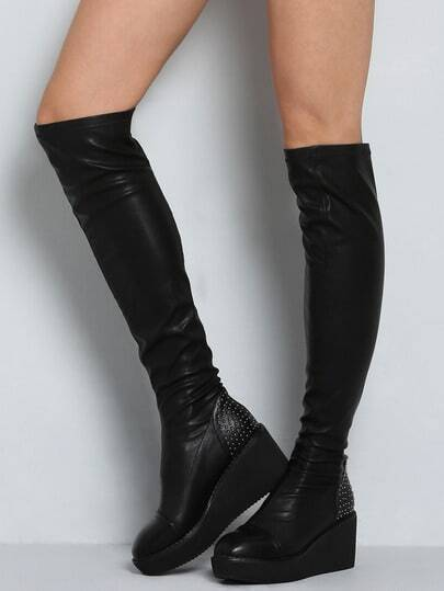 Black Thick-soled Bead High Boots