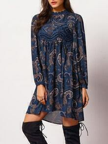 Multicolor Long Sleeve Hollow Vintage Print Dress