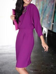 Purple Round Neck Cut Out Dress