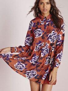 Multicolor Long Sleeve Lapel Floral Dress