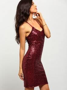 Burgundy Spaghetti strap Sequined Dress