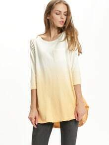 Yellow Round Neck Pockets T-Shirt