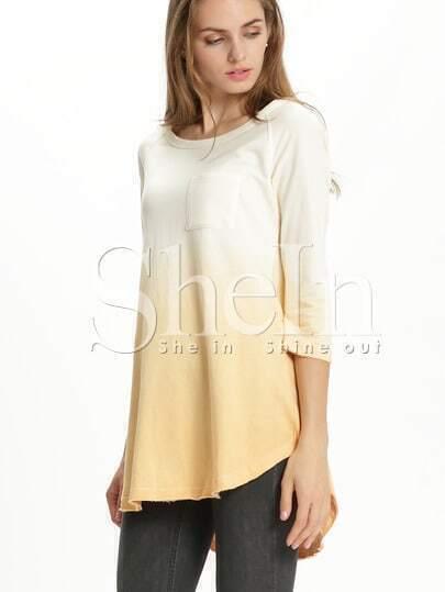 Yellow round neck pockets t shirt shein sheinside for Plain yellow long sleeve t shirt