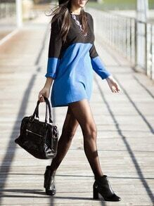 Black Blue Long Sleeve Color Block Dress