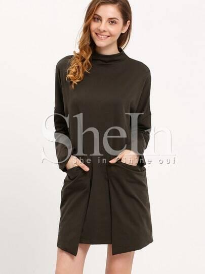 Cowl Neckline Asymmetrical Hem Pockets Dress