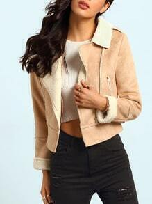 Apricot Long Sleeve Lapel Zipper Coat
