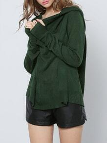 Dark Green Hooded Long Sleeve Sweater