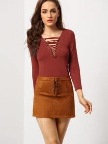 Burgundy Long Sleeve Lace Up T-Shirt