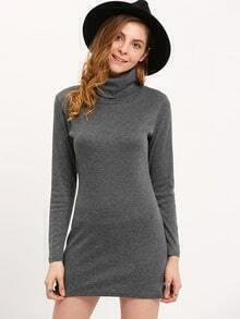 Turtleneck Long Sleeve Slim Dress