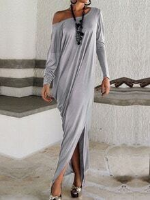 Boat Neck Slit Loose Grey Dress