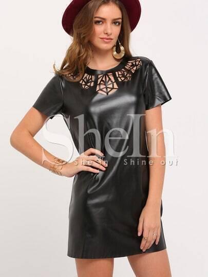 Black Short Sleeve Hollow Dress
