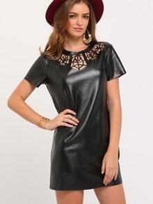 Black Short Sleeve Hollow Dress