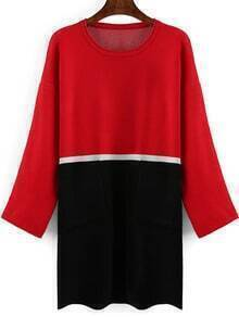 Red Black Round Neck Loose Sweater Dress
