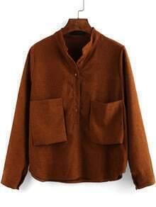 Khaki Stand Collar Pockets Crop Blouse