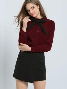 Red Long Sleeve Bow Embellished Buttons Blouse