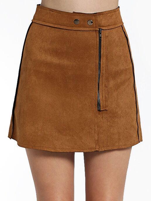 khaki high waist zipper skirt shein sheinside