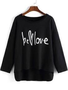 Black Round Neck Letters Print Dip Hem T-Shirt