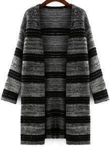 Black Grey Long Sleeve Striped Cardigan