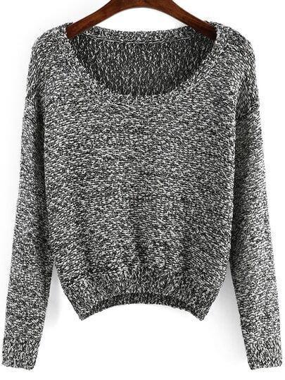 Black Long Sleeve Sequined Crop Sweater