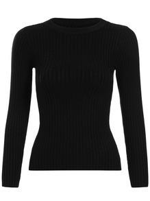 Black Round Neck Slim Crop Knitwear