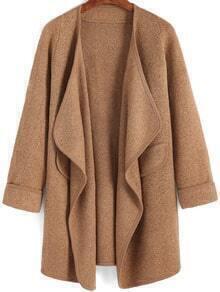 Khaki Long Sleeve Pockets Loose Sweater Coat