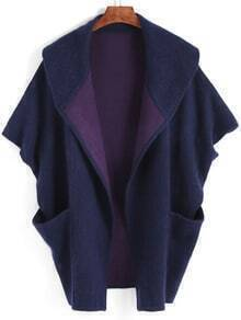 Navy Lapel Batwing Sleeve Sweater Coat