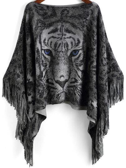 Grey Tiger Print Tassel Knitwear