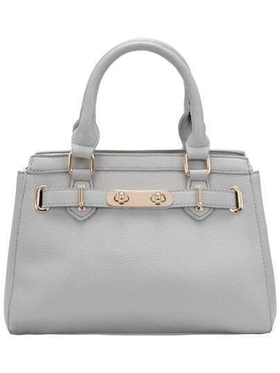 Grey Metal Buckle Tote Bag