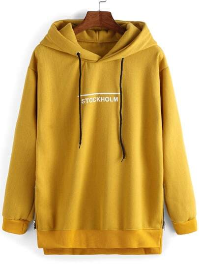 Yellow Hooded Letters Print Casual Sweatshirt