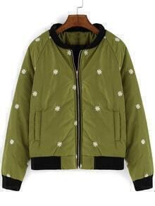 Army Green Long Sleeve Daisy Print Coat