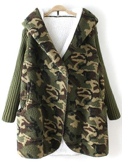 Army Green Hooded Camouflage Print Coat