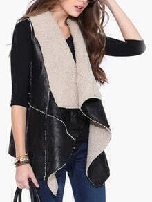 Black Sleeveless Asymmetrical PU Vest