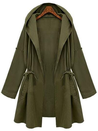 Green Hooded Drawstring Waist Loose Coat