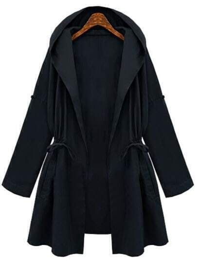 Navy Hooded Drawstring Waist Loose Coat