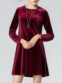 Red Round Neck Long Sleeve Loose Dress