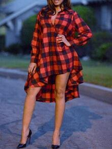 Red Lapel Long Sleeve Plaid Loose Dress