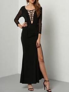 Black V Neck Lace Up Split Dress