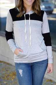 Colour-block Hooded Long Sleeve Pockets Sweatshirt