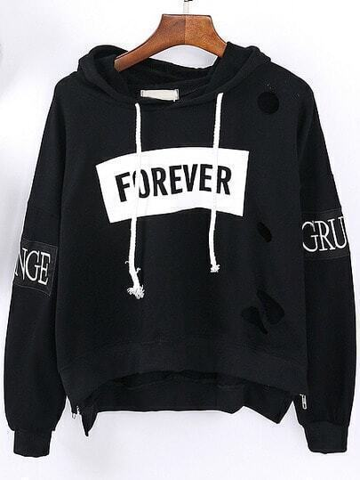 Black Hooded Letters Embroidered Hollow Sweatshirt