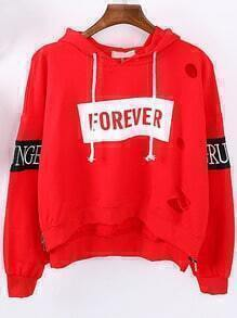 Red Hooded Letters Embroidered Hollow Sweatshirt