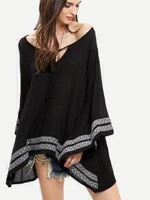 Black Long Sleeve Tribal Embroidered Blouse