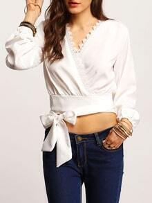 White V Neck Bell Sleeve Knotted Blouse
