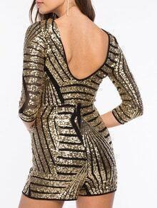 Gold Black Backless Sequined Jumpsuit