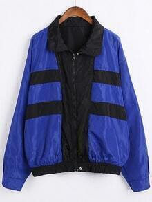 Blue Black Lapel Long Sleeve Loose Jacket