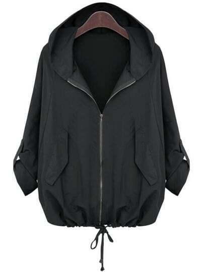 Black Hooded Zipper Loose Jacket