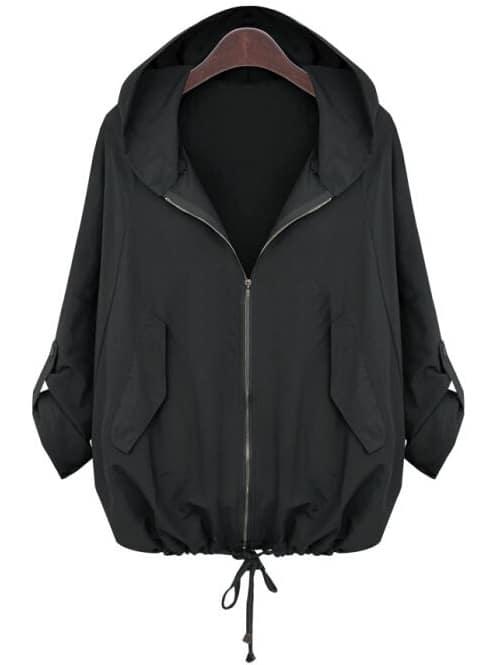 Фото #1: Black Hooded Zipper Loose Jacket