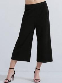 Black Mid Waist Straight Pant
