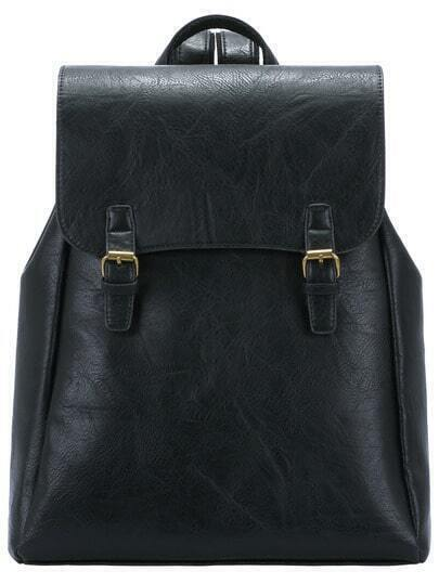 Black Buckle PU Backpack
