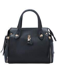 Black Classical Zipper PU Tote Bag